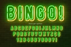 Neon light alphabet, multicolored extra glowing font. Exclusive swatch color control stock illustration