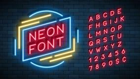 Neon light alphabet, realistic extra glowing font stock illustration