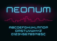 Neon light alphabet, realistic extra glowing futuristic font. Ex royalty free illustration