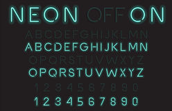 Neon Light Alphabet Vector Font Stock Photography