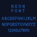 Neon light alphabet. Vector letters and number Royalty Free Stock Photos