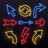 Neon light arrows. Colorful bulb lines arrow. Nightlife tube lights arrowhead pointers. Lamps vivid vector set vector illustration