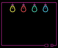 Neon light bulb. Colorful neon light bulbs switching off on dark background Stock Images