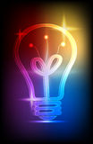 Neon light bulb. Icon with colorful Lights on black background Stock Photography