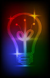 Neon light bulb. Icon with colorful Lights on black background Stock Image