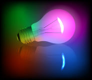 Neon light bulb illustration Stock Photos