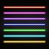 Neon light. Colorful neon tubes  on transparent background. Neon brushes. Vector Royalty Free Stock Image