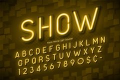 Neon light 3d alphabet, extra glowing font. Exclusive swatch color control Stock Image
