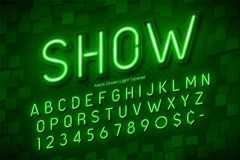 Neon light 3d alphabet, extra glowing font. Exclusive swatch color control Stock Photos