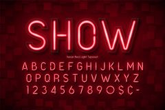 Neon light 3d alphabet, extra glowing font. Exclusive swatch color control Royalty Free Stock Photo