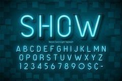 Neon light 3d alphabet, extra glowing font. Exclusive swatch color control Stock Images