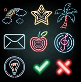 Neon light decoration with different items. Illustration royalty free illustration