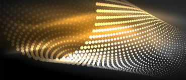 Neon light effects, particles. Big data illustration concept, vector, yellow golden color Stock Images