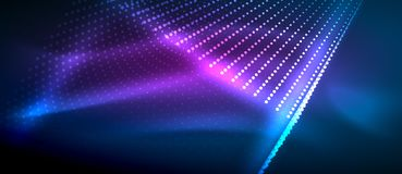 Neon light effects, particles. Big data illustration concept, vector Royalty Free Stock Photo