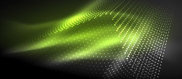 Neon light effects, particles. Big data illustration concept, vector, green color Stock Photography