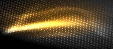 Neon light effects, particles. Big data illustration concept, vector, yellow golden color Royalty Free Stock Photos