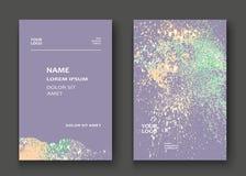 Neon light explosion paint splatter artistic cover frame design. Decorative splash spray texture purple pastel background. Trendy template vector Cover Report royalty free illustration