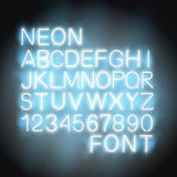 Neon light Font. Font neon light alphabet numbers in format royalty free illustration