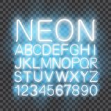 Neon light Font vector transparent background. Font neon light, alphabet letter numbers, in vector format stock illustration