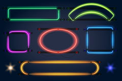 Neon light frames. Vector neon lamp borders Royalty Free Stock Photo
