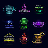 Neon light gambling emblems. Poker club and casino vector sign set Royalty Free Stock Image