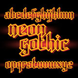 Neon light gothic font Stock Image