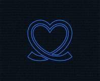 Heart ribbon sign icon. Love symbol. Neon light. Heart ribbon sign icon. Love symbol. Glowing graphic design. Brick wall. Vector Stock Images