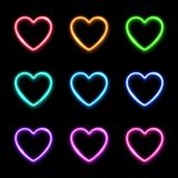 Neon light hearts set on dark background. Colorful techno led or halogen lamp wiring frame collection. Electric bright 3d sign for love romantic banner, flyer royalty free illustration