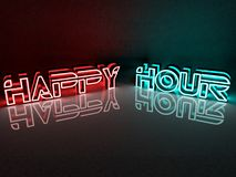 Neon light inscription happy hour with red and blue. In background stock illustration