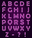 Neon light letters Alphabet ABC, vector font Royalty Free Stock Photos