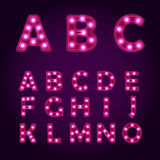 Neon light letters Alphabet, vector font illustrations, Lightbulb Royalty Free Stock Photos