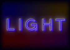 Neon Light. Light neon sign. Design for your business. Bright attracts the attention of a luminous sign saying - Light Royalty Free Stock Image