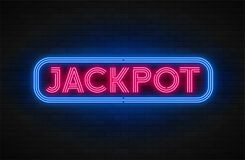 Neon light linear promotion banner, jackpot, game, big win. Swatch color control royalty free illustration