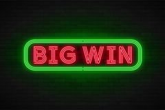 Neon light linear promotion banner,jackpot, game, big win. Swatch color control vector illustration