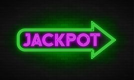 Neon light linear promotion banner, jackpot, game, big win. Swatch color control stock illustration