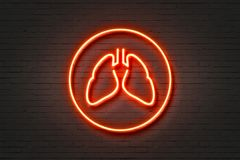 Neon Light Lungs. Neon Light Sign Lungs Icon Royalty Free Stock Image