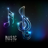 Neon light made shiny musical notes. Stock Image