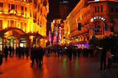 Neon light night view of the famous Nanjing Road in Shanghai China. stock image