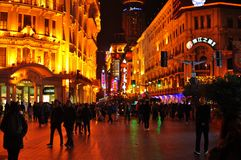 Neon light night view of the famous Nanjing Road in Shanghai China. stock photos