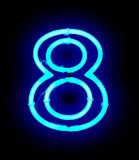 Neon light number 8 Stock Image