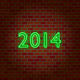 Neon light numbers 2014 Royalty Free Stock Photography