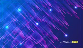 Neon Light Particles, Shooting Stars, Meteorites Flying at High Speed on Dark Space Background. Stylish Print Design. Holiday royalty free illustration