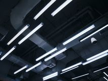 Neon light pattern Indoor building electric system stock images