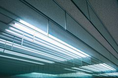 Neon light pattern Indoor building Energy saving electric system royalty free stock photo