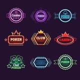 Neon Light Poker Club and Casino Emblems Set Stock Photography