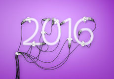 2016 Neon Light  Purple Background 3D Stock Photography