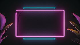 Neon light sign board background. 3d modern illustration. Neon elements and plants.