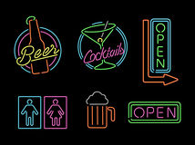 Neon light sign set icon retro bar beer open label Stock Photography