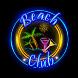 Neon Light signboard for Beach Club Stock Photography