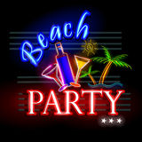Neon Light signboard for Beach Party Stock Image